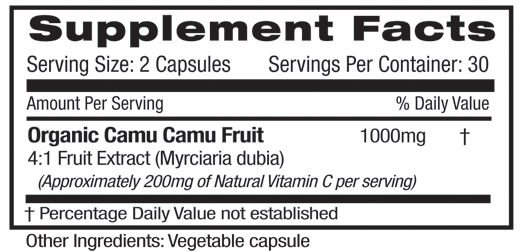 Fruitrients Camu Camu Supplement Facts ALL