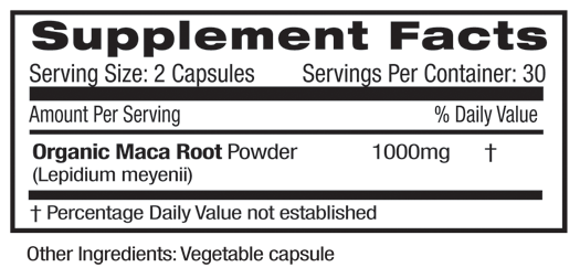 Fruitrients Maca Root Supplement Facts