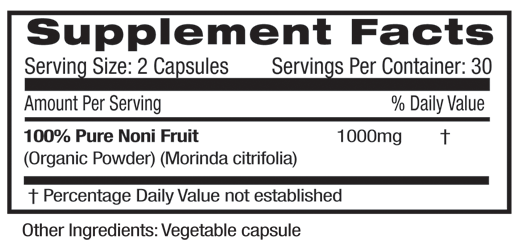 Fruitrients Noni Fruit Supplement Facts