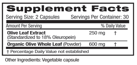 Fruitrients Oive Leaf Supplement Facts