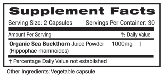 Fruitrients Sea Buckthorn Supplement Facts